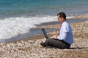 businessman at beach