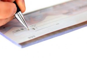 writing a check