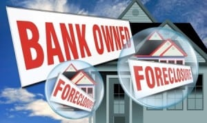 foreclose bank owned house sign