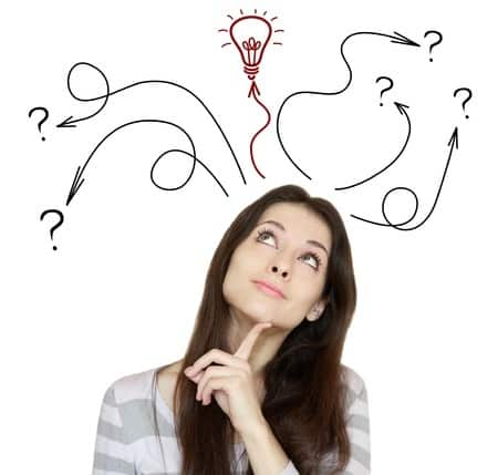 woman lightbulb thinking idea question decision making