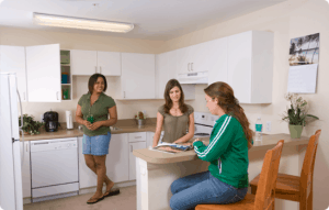 college students kitchen housing student young